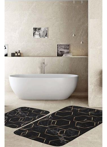 Hamur Alyans 2 'li Set Banyo Paspası Kaymaz Taban Banyo Halısı Siyah